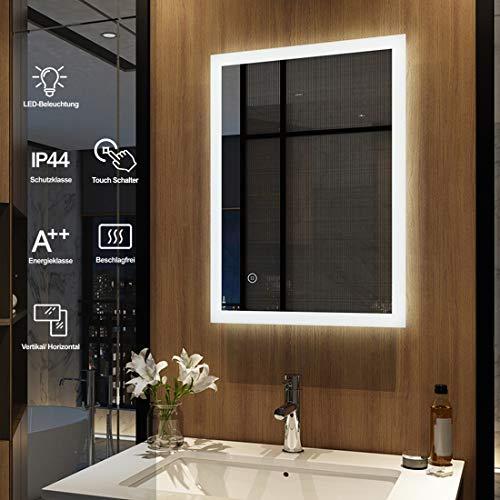 Meykoers Wandspiegel Badezimmerspiegel LED Badspiegel mit Beleuchtung 50x70cm mit Touch-Schalter und Beschlagfrei, Lichtspiegel Kaltweiß 6400K