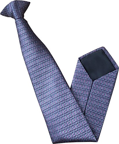 Great British Tie Club 100% Soie Cravate à Clipser - Violet et Gris motif de rectangle