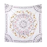 """Simpkeely Mandala Tapestry Wall Hanging, Indian Bohemian Medallion Wall Tapestries Sketched Floral Art, Wall Décor for Dorm Bedding Room Living Room 59"""" x 59""""-Mauve"""