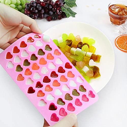 douzxc 55 Bandeja de hielo en forma de corazón de celosía Forma de corazón lindo Mini cubo de hielo de silicona Molde de jabón de caramelo para hornear de chocolate