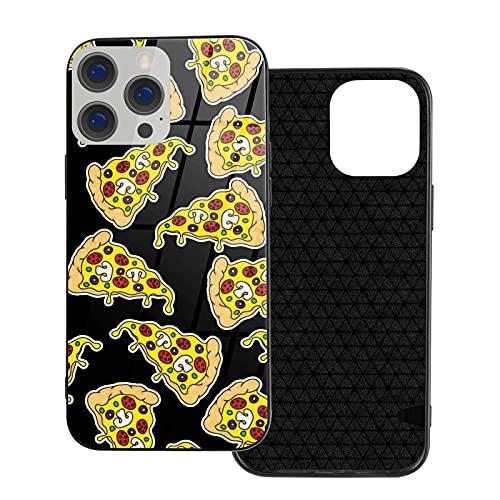 Caja del teléfono Cubierta del teléfono de la Pizza para iPhone 12/12 Mini / 12 Pro / 12 Pro MAX Cubierta Trasera de Vidrio Templado + TPU para iPhone 12-6.1 Pulgadas