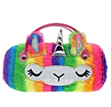 Kids Girls Boys Fluffy Faux Fur Unicorn Eyeglass Case Plush Eyewear Glasses Case Hard Shell with Handle, Rainbow Unicorn, One Size