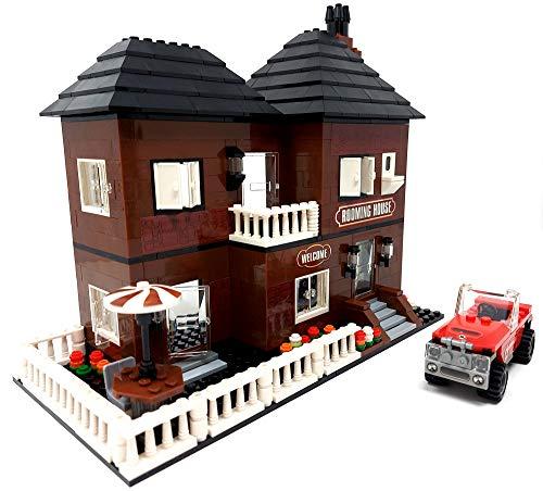 Brigamo Bausteine Haus, Hostel mit Terasse und Balkon, 533 Klemmbausteine, Konstruktionsspielzeug