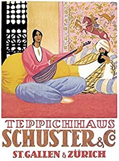 Swiss Art Deco period poster by Emil Cardinaux 1924 Cardinaux did several posters for the carpet dealer Schuster & Co each inviting the viewer into a scene of oriental luxury Emil Cardinaux (1877-193
