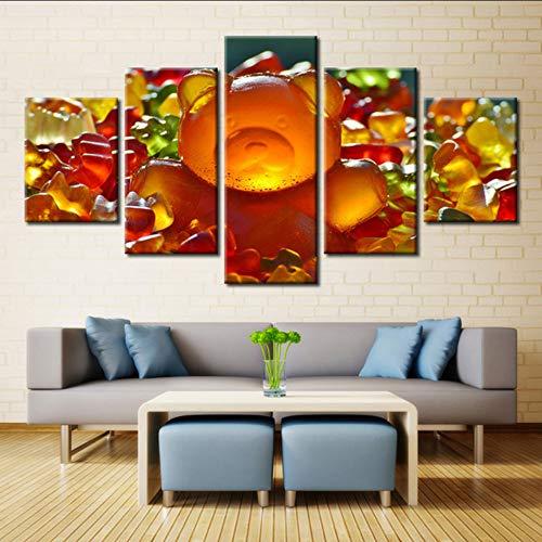 Pmhhc 5 panelen gummibeertjes zoete snoepjes kleurrijke jam schilderij afbeelding op canvas keuken & restaurant decoratie landschap 20 x 35 cm x 2 20 x 45 cm x 2 20 x 55 cm framed