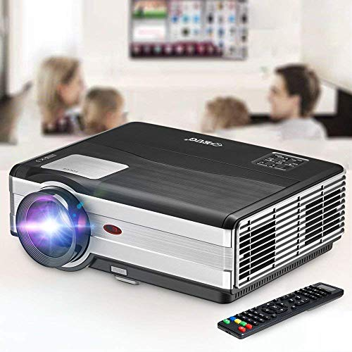 """Movie Projector, EUG 4200 Lumen LCD Digital Home Theater Projector with HDMI Screen Zoom Keystone Max 200"""" Support 1080P HD LED Video Proyector for TV Games Art Outdoor Entertainment Bluray DVD Roku"""