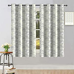 Hualidecor Art Nouveau Window Blackout Curtains, Curved Romantic Bridal Branches Growth Feng Shui Bouquet Antique Classic Light Blocking Blind Shades for Bedroom, Ivory and White