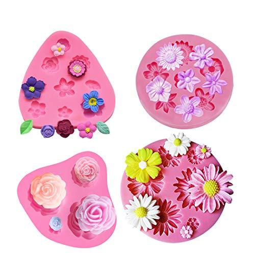 iSuperb 4-pack bloem fondant cakevormen, snoep siliconen mal set voor taartdecoratie, chocolade, cupcake topper, polymeerklei, zeepwas maken knutselprojecten (4 Pack)