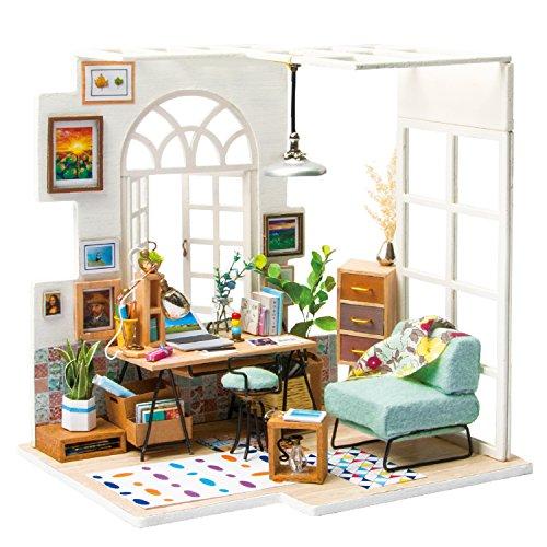 ROBOTIME Miniatyr vardagsrum gör-det-själv dockhus tillbehör och möbler 1:24 pysselsatser byggprojekt för barn och vuxna