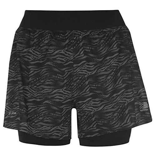 Karrimor Donna 2 in 1 Shorts Pantaloncini Sport Traspiranti Nero AOP M