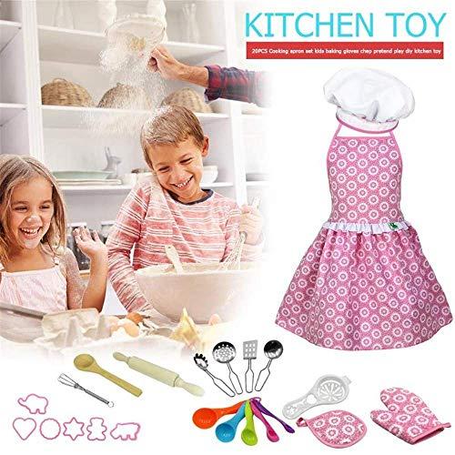 Soul hill 17 Stück for Kinder Kochen und Backen Set mit Schürze for Mädchen, Chef-Hut, Ofenhandschuh, und andere Küchengeräte for Kleinkind-Chef Karriere Rollenspiele