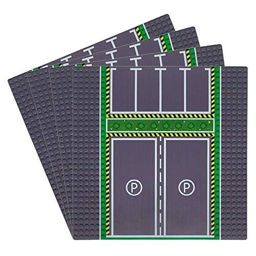 Feleph City Posteggio Base×4, Classic Strade Costruzion Basi per Macchine e Biciclette e Autobus 32 x 32 cm, Compatibile con Le Principali Marche