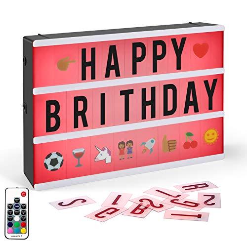 Boite Lumineuse Lettres,CrazyFire Lightbox A4 Boîte à Lumière Cinématographique à Changement de Couleur avec 104 Letters,Télécommande et Câble USB (RE-C20)