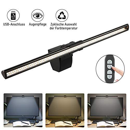 Kohree LED E-Reading Lampe Task Lampe Monitor Lampe USB Dimmbar Schreibtischlampen Einstellbare Helligkeit und Farbtemperatur USB Aufladen Büro Lampe Arbeitslampe, 40cm Schwarz