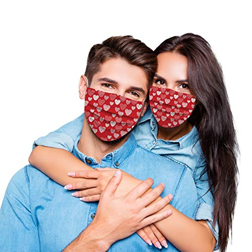 TGTB King and Queen Matching Valentine's Day Couples 3 Layer Cloth Face Mack for Him and Her Washable and Reusable with Breathable Fashion Mack for Women Men (100, Red)