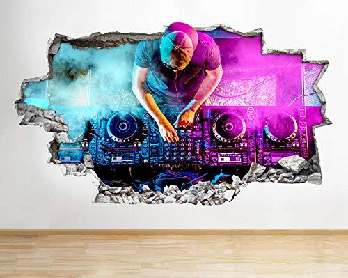 DJ Music Beats Decks Pegatinas de pared de neón Pegatinas de pared Habitación de niños 3D Póster Arte 3D Mural 50x70cm