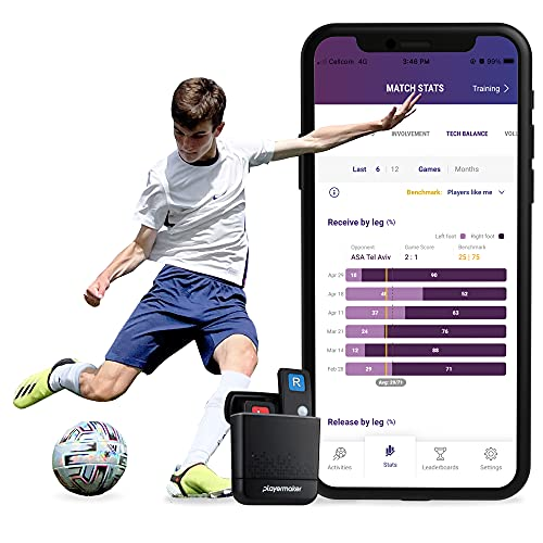 Playermaker Smart Soccer Tracker Analyzer, Light Wearable Intelligent Foot Sensor Kit, Measures Physical and Technical Game Activity, for Indoors and Outdoors Compatible with iOS and Android