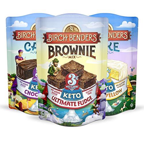Birch Benders Keto Chocolate Cake, Keto Classic Yellow Cake, and Keto Ultimate Fudge Brownie Mix Variety Pack, 3 Pack (10.9oz each)