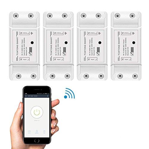 WiFi Smart Switch Google Home e App Controllo, AOZBZ Telecomando Senza Fili Relay Interruttore Modulo Fai Da Te la Tua Casa Intelligente con Countdown e Funzione Timer AC 90-250V 2200W (4 Pack)