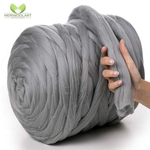 MeriWoolArt 100% Merinowolle zum Stricken & Häkeln mit 4-5cm dickem Garn | Dicke Merino Wolle für XXL Schal, Decke & Kissen (Stahl, 4,5Kg Knäuel)