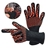 Hamkaw 1 Pair BBQ Gloves 1472°F/800°C Extreme Heat Resistant Non-Slip Grill Gloves Kitchen