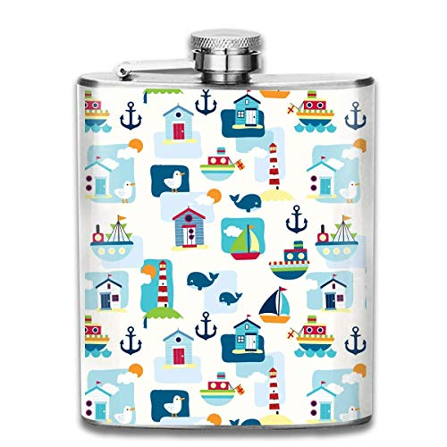 Light Houses Scene Big Sable Pattern Fashion Portable Stainless Steel Hip Flask Whiskey Bottle for Men and Women 7 Oz