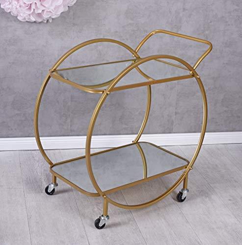 Barwagen auf Rädern Servierwagen Gold Teewagen Abräumwagen Küchenwagen Beistellwagen aja200 Palazzo Exklusiv