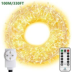 LED light chain 100M 800 LEDs Ollny Christmas light chain IP44 waterproof with remote control & timer 8 modes party decoration for Christmas birthday wedding living room children's room (warm white)
