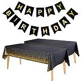 Feelava Kit de décorations de fête d'anniversaire avec bannière et nappes jetables pour intérieur ou extérieur, pour fille, femme, anniversaire, fête, accessoire de décoration de fête, noir
