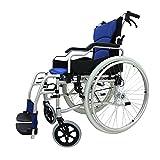 WDDMFR Leichter medizinischer Rollstuhl, tragbarer zusammenklappbarer Aluminium-Reiserollstuhl mit Handbremsen - 34 cm Sitzfläche -