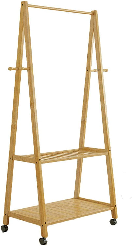 Floor-Standing Coat Rack Bedroom Bamboo Bamboo Hanger Room Can Be Moved (Size   60CM)