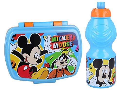 Pack 2pcs Botella de Agua plastico Infantil 400ml- Fiambrera sandwicheras para niños, cantimplora a Prueba de Fugas sin BPA