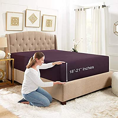 """Empyrean Bedding 18"""" - 21"""" Extra Deep Pocket Fitted Sheet for High Mattress- Hotel Luxury Silky Soft Double Brushed Microfiber Sheet - Hypoallergenic Wrinkle Free Cooling Bed Sheet, Queen - Eggplant"""