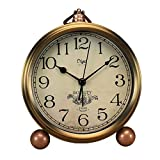 Maxspace Metal Golden Table Clock, Retro Vintage Non-Ticking Small Alarm Clock,Battery Ope...