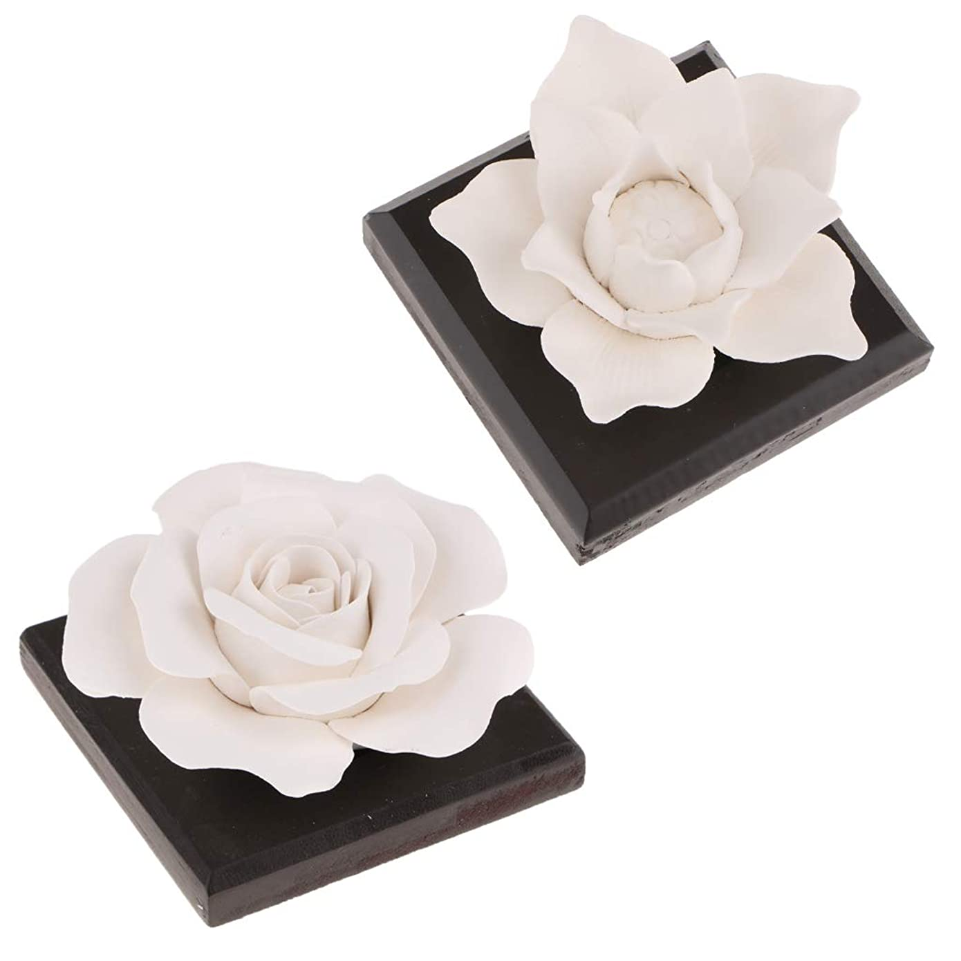 一時解雇するアヒルうるさいFLAMEER 2パックの白い花の陶磁器の芳香剤の香水のにおいの拡散器の装飾の技術