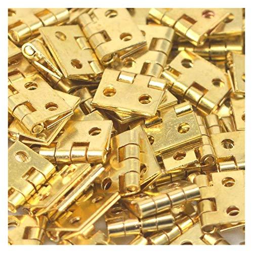 Bisagras puerta cuadradas 20 Unids Pure Cobre Mini Pequeño Caja Pequeña Caja Plegable Butones Puerta DIY Suministros Artesanía Joyería Casedecor 8 * 10 Mm (80pcs Nails), Butt Bisagras ( Color : Gold )