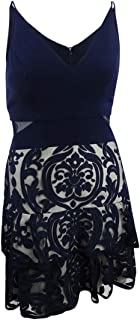 XSCAPE Womens Navy Embellished Darted Spaghetti Strap V Neck Above The Knee Ruffled Party Dress US Size: 12