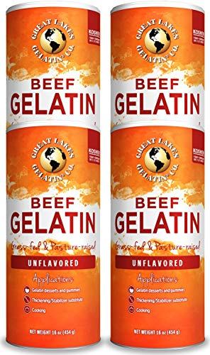 Great Lakes Gelatin, Certified Paleo Friendly, Keto Certified, Beef Gelatin Collagen Protein, Pasture-Raised, Grass-Fed, Non-GMO, Kosher, 16 oz Can (Pack of 4)