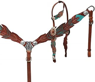 Showman Teal Painted Feather Medium Oil Leather Horse One Ear Bridle Headstall Breast Collar Reins