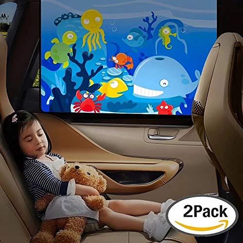 STYLINGCAR Cortinas magnéticas para parabrisas de coche, protección UV para bebé, cortinas opacas, parasoles laterales para proteger a tus niños y mascotas (bajo el agua del mundo 2 unidades)