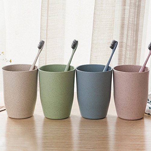 Bazaar 4 couleurs de salle de bain paille de blé brosse à dents titulaire de la tasse de lavage Gargle Suit Accessoires de salle de bains