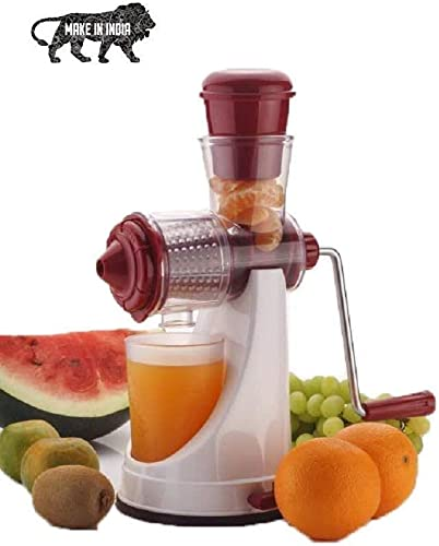 ZOSOE Hand Juicer for Fruits and Vegetables with Steel Handle Vacuum Locking System Shake Smoothies Travel Juicer for Fruits and Vegetables Fruit Juicer for All Fruits Juice Maker Machine red