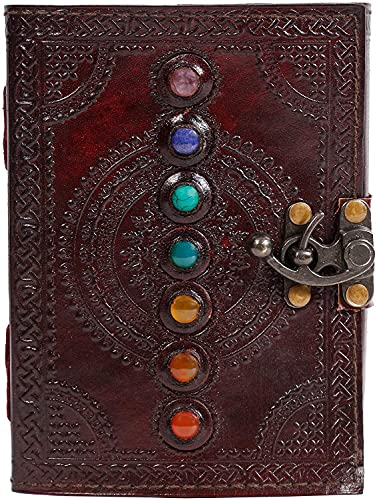 CLOTHOS by SSD-Seven Stone Leather Journal 10x7 Inches Book of Shadows Handmade Seven Chakra Celtic Embossed With Lock Clasp Prop Vintage Daily Notepad Unlined Paper Sketchbook & Writing Notebook