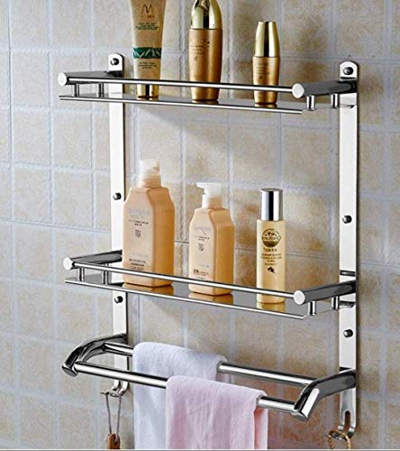 FILOX™ Stainless Steel Double Layer Shelf with Towel Road Wall Mount Bath Rack Kitchen Organizer Shelf and Bathroom Accessories