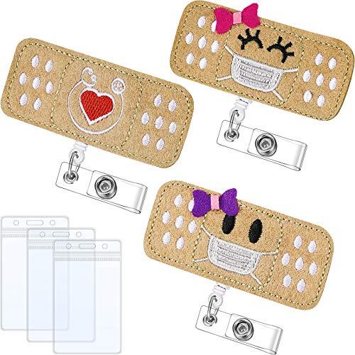 Felt Nurse Badge Reel and ID Card Holders Set, Retractable Bandage Badge Holder with Alligator Clip for Nurses Doctors Volunteers Students Teachers(6 Pieces)