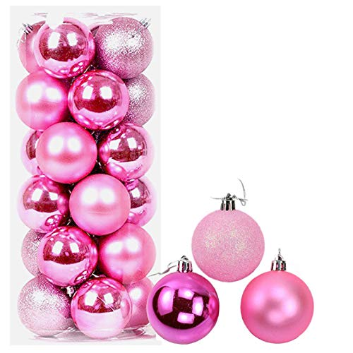 24ct Christmas Balls Ornaments, 2.36in (60mm) Shatterproof Decorative Hanging Balls for Xmas Tree, Holiday Wedding Party Decoration Baubles Set with Hang Rope, Pink