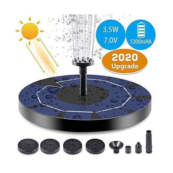 Depmog Solar Fuente Bomba 3.5W, Fuente Flotante de Bomba de Agua Solar Batería incorporada de 1200mAh, Altura de rociado…