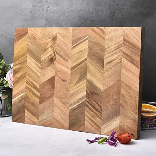 Bill F Since 1983 deska do krojenia, nowa deska do krojenia z drewna akacjowego ze specjalnym ziarnem, duża drewniana deska do krojenia klasy profesjonalnej 46 x 33 x 2,5 cm