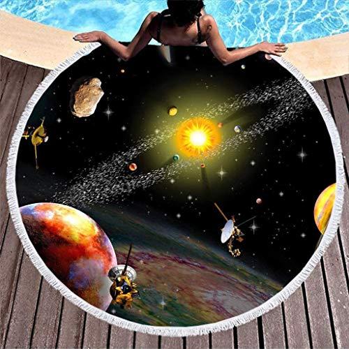 Colorido Sistema Solar Universo Sol Luna Planetas Mercurio Marte Urano Neptuno Saturno Plutón Cometa Cinturón de asteroides Satélite Meteorito Estampado Tie Dye Toalla de Playa Redonda con borlas