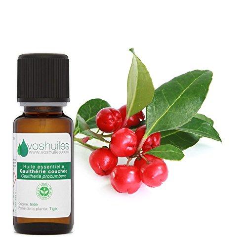 Huile Essentielle de Gaulthérie Couchée -100% Pure et Naturelle - HEBBD - Utilisation en Massage dans Huile Végétale - Parfum Très Aromatique - 20 ml - VOSHUILES